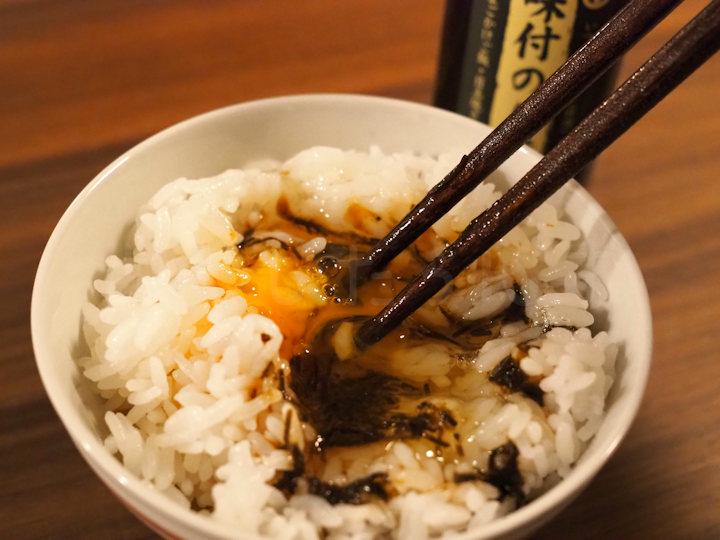 卵かけご飯に味付のり醤油