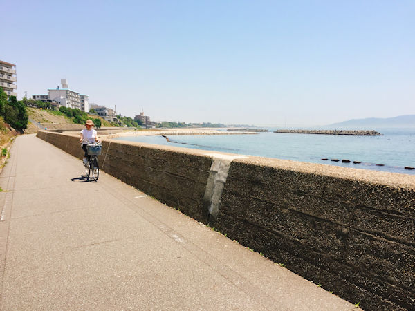 浜の散歩道をサイクリング