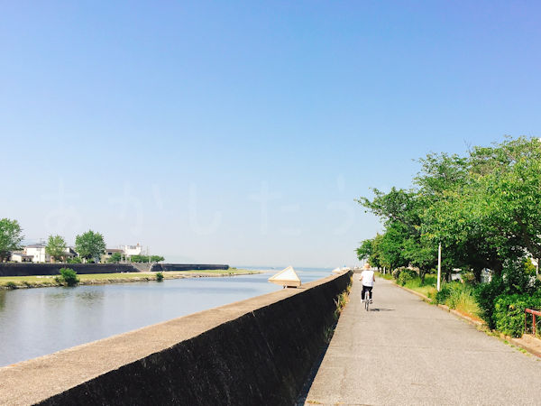川沿いのサイクリングロード