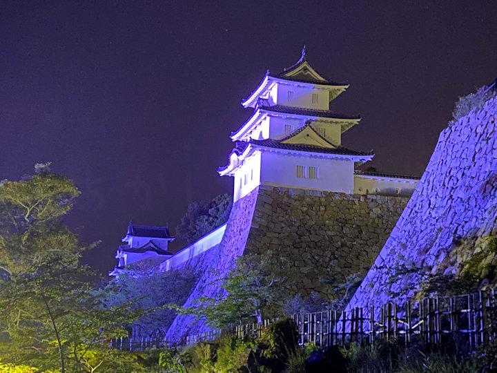 明石城のライトアップ