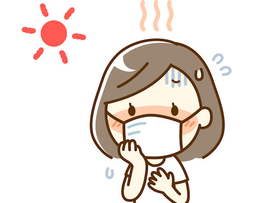 マスク熱中症の女性