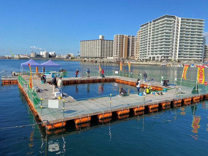 海上釣り堀が明石港東の砂利揚げ場跡地にオープン